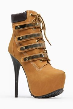 Breckelles Gold Plated Chestnut Lace Up Booties... on my wishlist this christmas.. hint hint*
