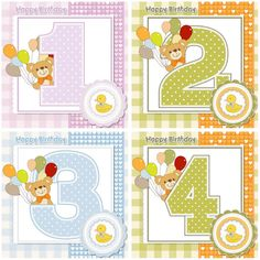 "Set of 4 vector Baby Happy Birthday cards with teddy bear with balloons for 1, 2, 3, 4 years/month old kids. Format: EPS/Ai stock vector clip art and illustrations. Free for download. Set name: ""Baby happy birthday cards vector"" for…"
