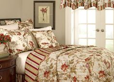 Bedding using a Colonial Williamsburg Design.
