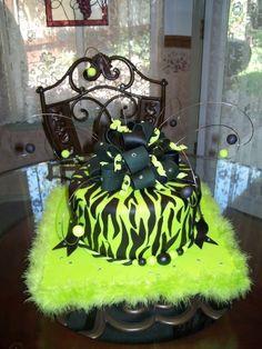 Lime Zebra Birthday cake