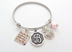 Alex and Ani bracelet, Teacher Gift, Monogram Gift for Teacher, Rhinestone Charm, Teacher Jewelry