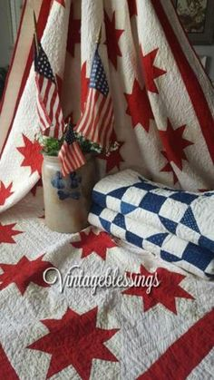 The maker used treadle machine quilting in blue threads to give it that Patriotic feel! Background is a muslin tannish color. Red And White Quilts, Blue Quilts, Star Quilts, Antique Quilts, Vintage Quilts, Blue Centerpieces, Quilt Display, Quilt Storage, Keepsake Quilting