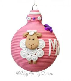 Baby's First Christmas, Lamb polymer clay ornament by Daresab for $16.00