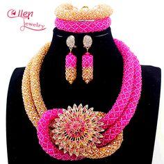 New Fuschia Pink Nigerian Wedding African Beads Jewelry Set Handmade Indian Dubai Bridal Necklace Sets Free Shipping E1056