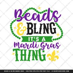 Featured here is our Beads & Bling, It's A Mardi Gras Thing digital cutting file. This design comes in several formats and works with basic to commercial grade vinyl plotters. This is a digital file only and available upon purchase. You will receive a zip folder that will need to be unzipped.  Files included are:   1 PNG File (transparent background)  1 JPEG File (white background)  1 EPS File  1 DXF File (mainly used for the Silhouette Studio basic edition)  1 SVG File  1 PDF F...