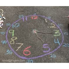 """Raising Dragons on Instagram: """"Sidewalk Chalk Clock ⏰ ages 5+ ⏰ We have been outside so much the past few weeks and sidewalk chalk is our go-to outdoor activity this…"""" Games For Toddlers, Fun Activities For Kids, Outdoor Activities, Learn To Tell Time, Kid Experiments, Outdoor Classroom, Sidewalk Chalk, Vibrant Colors, Colorful"""