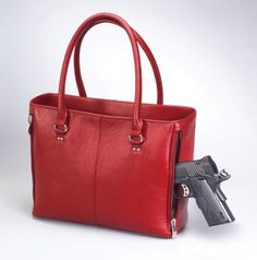 A beautiful concealed carry purse featuring timeless and traditional elegance with options to show off your unique style, in various colors. Has a slash resistant strap, is ambidextrous, and features a separate holster compartment