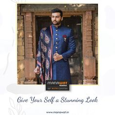 Manawat is an exclusive store and showroom for mens sherwani and other wedding wear like kurta payjama, mens blazer and more. Mens Sherwani, Wedding Sherwani, Ahmedabad, Churidar, Wedding Wear, Stylish Men, Mens Suits, Pajamas, Sari
