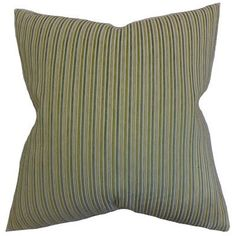 """The Pillow Collection Elke Stripes Throw Pillow Color: Green, Size: 18"""" x 18"""""""