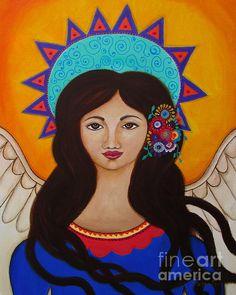 Special Angel Reese. Folk Art angel painting. reese, angel, dear daughter, light, love, family, lisset, velasco, portrait of an angel, prisarts, pristine, florals, great gift, popular, folk art, wings, mexican, filipino artist, philippines, anghel, bulaklak, pristine cartera, pristine turkus