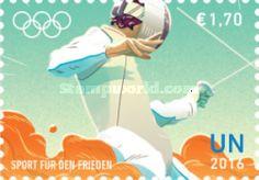 UN Vienna, 22.7.2016. Olympic Games - Rio de Janeiro, Brazil. Value 1,70 EUR, Issued (3/4) 210.000 pcs. Price: 2,73 USD.
