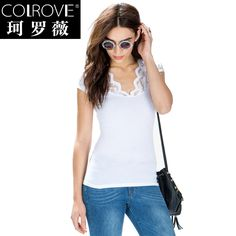 Find More Information about fashion 3ccc  2015 fashion gentlewomen brief V neck short sleeve lace casual slim basic t shirt,High Quality t-shirt pima,China t-shirt heat transfer paper Suppliers, Cheap lace events from Fashion 3CCC on Aliexpress.com