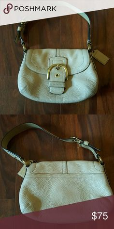 Coach leather shoulder bag Peebles leather COACH shoulder bag. Back outside pocket, 3 inside pockets, buckle closure. In good conditions Coach Bags Shoulder Bags