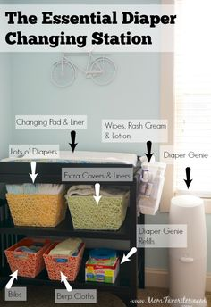 Themed Nursery Reveal - Mom Favorites The Essential Diaper Changing Stat. Bicycle Themed Nursery Reveal - Mom Favorites The Essential Diaper Changing Stat. Bicycle Themed Nursery Reveal - Mom Favorites The Essential Diaper Changing Diaper Changing Station, Baby Changing Table, Changing Pad, Couches, Baby Storage, Storage Bins, Nursery Organization, Organization Ideas, Changing Table Organisation