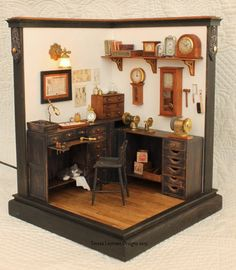 Miniature Watch and Clock Repair Shop - room box in 1:12 scale