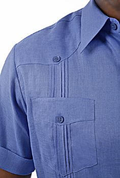 Guayabera shirt details : Shirts with pockets : Short Sleeve Guayabera Shirt in… Funky Shirts, Chef Shirts, Kurta Men, Guayabera Shirt, Gents Fashion, Men Formal, Men Design, Sports Shirts, Stylish Men