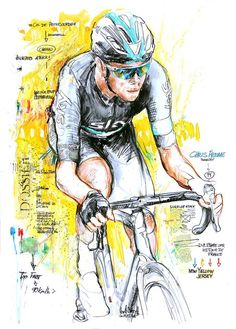 Chris Froome wins stage 8 Tour de France 2016 by Horst Brozy Cycling Art, Road Cycling, Chris Froome, Kingdom Of Great Britain, Bicycle Art, Grand Tour, Cool Posters, Cool Bikes, Illustration Art
