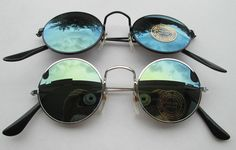 Lot of 2 Sunglasses John Lennon Style Mirror Glasses 70s  Round Hippie Retro N5