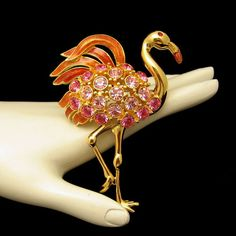 FABULOUS TRIFARI PINK FLAMINGO! Beautiful pink enamel and rhinestones make this large collectible brooch really stand out. Gorgeous Trifari style and quality! See More Wonderful Vintage Brooches in My Shop: https://www.etsy.com/shop/MyClassicJewelry?section_id=13113948