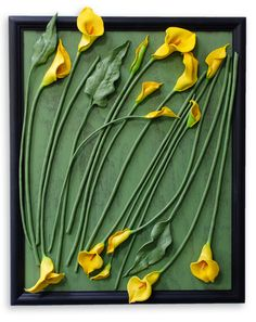 """Gather Me Up and Lay Me Down"", Polymer Clay Assemblage, yellow lilies on wood"