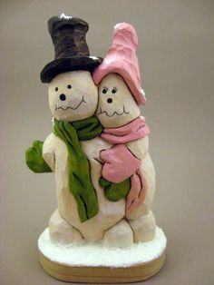 Hand carved Snowman Couple by CarvingsbyTony