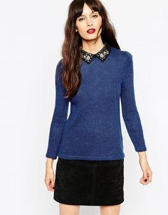 ASOS | ASOS Jumper In Tweed Knit With Embellished Collar