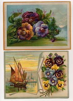 Two Large Victorian Trade Cards With Pansies by VintageVendor