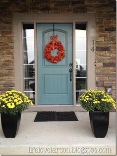 I chose Valspar's Woodlawn Juniper in semi gloss for my front door. This pop of color is just what our brown house needed! I love a painted front door. Brown Brick Houses, Brown House, Front Door Colors, Front Door Decor, Colored Front Doors, Blue Front Doors, Colored Door, Blue Doors, Painted Front Doors