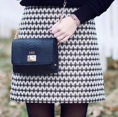 The LOFT Diamond Jacquard Shift Skirt as styled by the lovely @enh410