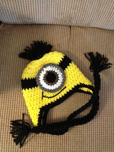 Minion Despicable Me Crochet Baby Newborn Beanie Hat Made to Order. $17.00, via Etsy.
