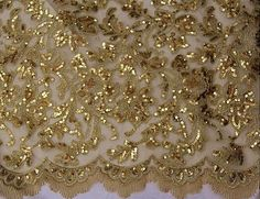 Gold Beaded Lace Fabric Gold Sequined Wedding Lace Fabric Scalloped Edge Dress Coat Fabric 49 Inches Wide 1 Yard
