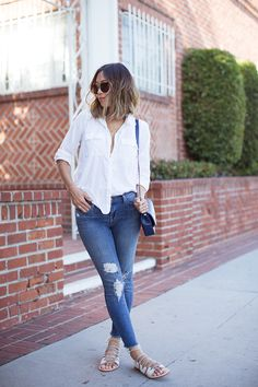 aimee_song_short_bob_white_shirt_skinny_jeans_lace_up_sandals