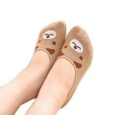 Winhurn Women Invisible Cotton Socks Nonslip Loafer Low Cut Cartoon Animal Fashion (Coffee) >>> Check out @