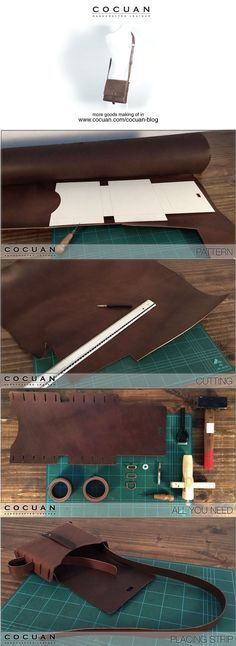 printable template on leather - no-sew leather bag, so genius! Bag making of www.cocuan.com