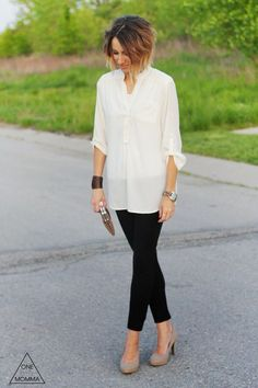 Ivory tunic blouse, black ponte pants, nude heels and clutch