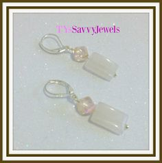 Rose Quartz Semi Precious Square Dangle Drop by TYsSavvyJewels