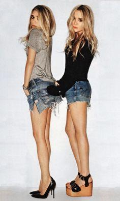 Summer outfit: black blouse, cut off shorts, black sandals/wedges
