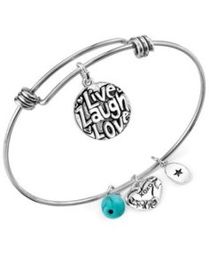 Unwritten Live Laugh Love Charm and Manufactured Turquoise (8mm) Adjustable Bangle Bracelet in Stainless Steel