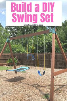 DIY Swing Set - (Adults will love this one too!) How to build a DIY Swing set for both kids and adul Build A Swing Set, A Frame Swing Set, Wood Swing Sets, Swing Set Plans, Swing Sets For Kids, Backyard Swing Sets, Backyard Playset, Diy Swing, Backyard For Kids