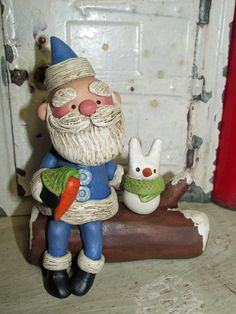 Christmas folk art Santa on a log with snow bunny by Janell Berryman Pumpkinseeds by JanellBerryman on Etsy Snow Bunnies, Bunny, Sculpture Clay, Sculptures, Merry And Bright, Handmade Art, New Art, Christmas Holidays, Folk Art
