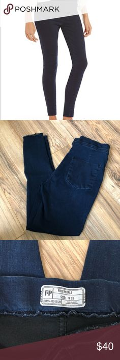 Free People Easy Does It Denim Raw Hem Leggings 29 Leggings – Womens Free People Easy Goes It Raw Hem Denim Legging Dark Denim. Worn once and washed, some minor fading/discoloration as shown  as reflected in price. Size 29, but lots of stretch!! Free People Pants Leggings