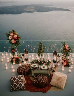 Dreamy Grecian Sunset: Modern Boho Elopement on a Santorini Terrace - Green Wedding Shoes Romantic Surprise, Romantic Proposal, Proposal Photos, Proposal Ideas, Romantic Weddings, Small Weddings, Barn Weddings, Destination Weddings, Romantic Dinner Setting