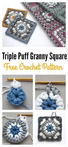 Triple Puff Granny Square Crochet Pattern