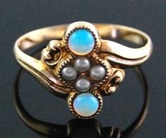 Antique Victorian Opal & Seed Pearl Cocktail Ring in 10k Yellow Gold Size 5.5
