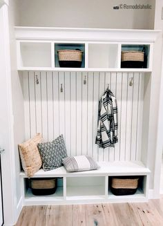 Find the perfect look for your mudroom!!! Add vertical shiplap above a bench with cubbies, SPGH 2019 House 27 Slate Ridge Homes, Inc, Photo by Remodelaholic Cubbies, Mudroom Bench, Bench With Storage, Upholstered Storage, Wood Storage Bench, Home, Design My Kitchen, Bedroom Design, Oakwood Homes
