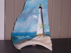 Bodie Lighthouse Hand Painted on Gray Slate by LighthouseGallery