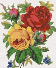 Red and yellow roses cross stitch kits