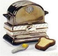 PORCELAIN HINGED BOX Toaster w/ Mini Toast and Knife