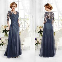 2015 Vintage Navy Blue Mother Of The Bride Groom Dresses 3/4 Sleeves Appliques Lace A-line V-neck Long Custom Made Winter Evening Party Gown, $104.17   DHgate.com