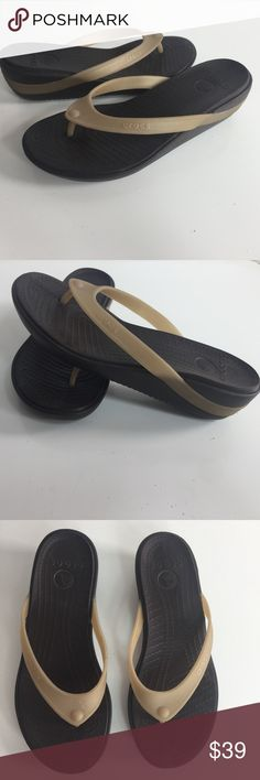 "Crocs Shoes Thong Flip Flop Sandals Black Wedge Crocs Shoes Womens Size 7 Thong Flip Flop Sandals Black Brown Wedge Beach Pool   A0314ktM10  Item condition:Pre-owned ""gently worn like new"" Crocs Shoes Sandals"
